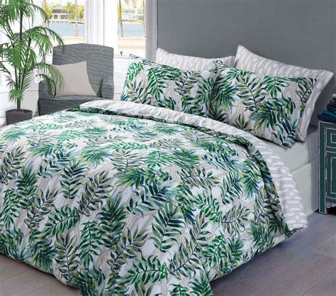 Palm Leaf Duvet Quilt Bedding Set  Green — Linens Range