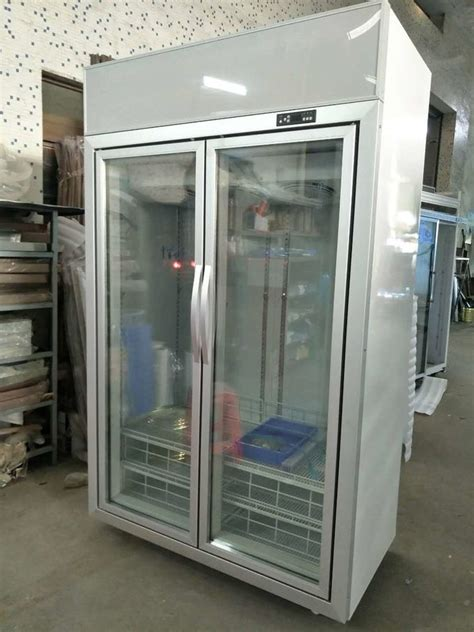 commercial glass door freezer  contained