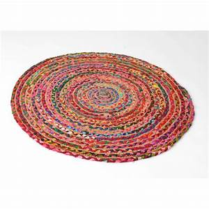 tapis de sol rond artisanal tresse jute et coton colore d90cm With tapis rond coloré