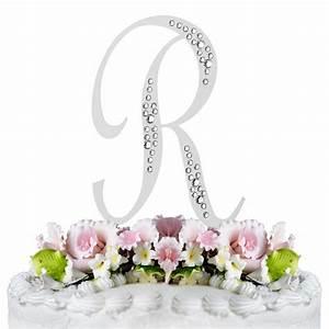 sparkle swarovski crystal wedding cake topper silver With letter r cake topper