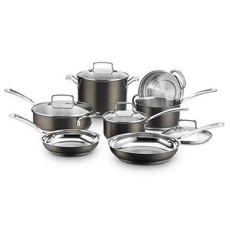 cuisinart black stainless collection  pc cookware set