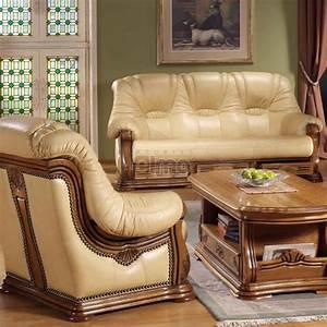 ensemble salon cuvette rustique stylise avec tiroirs cuir With canapé rustique cuir et bois