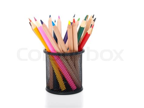 pot a crayon colored pencils in pot isolated stock photo colourbox