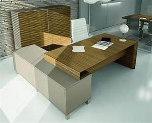 Bureau Direction Design Verre Cuir Bois Bureau Design