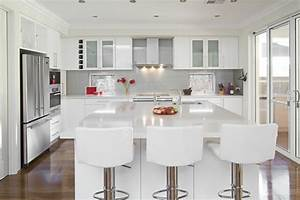 Glossy white kitchen design trend digsdigs for Kitchen cabinet trends 2018 combined with lake tahoe sticker