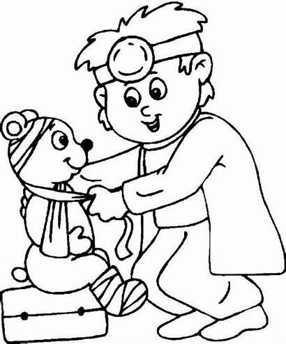 Coloring Doctor Preschool Pages Hospital Child Cards