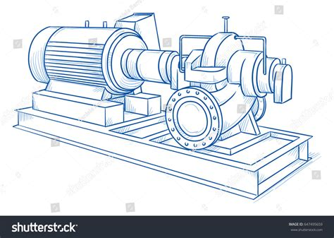 Drawing Heavy Industrial Water Pump Hand Stock Vector