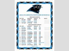 Printable 20182019 Carolina Panthers Schedule