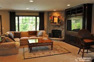 Living room with fireplace and tv for Family room design ideas