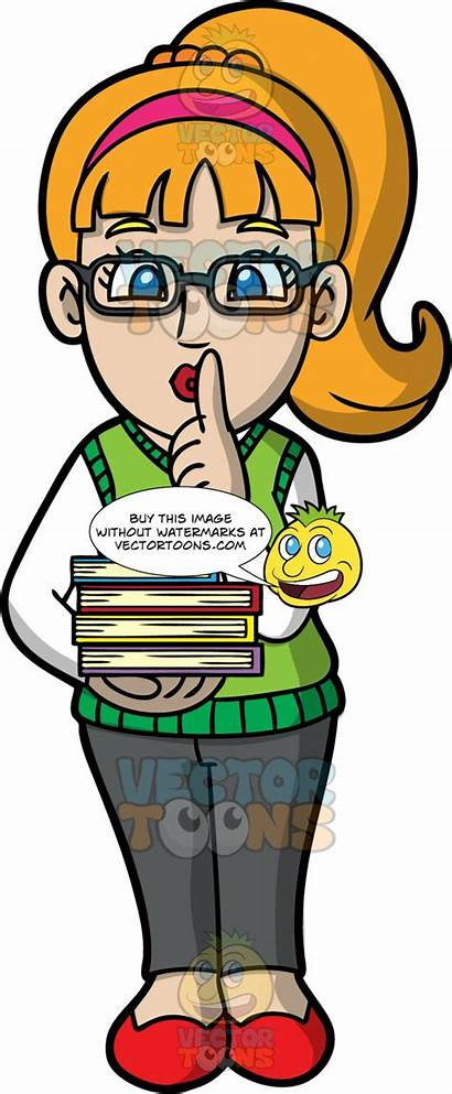 Quiet Librarian Female Library Clipart Indicating Cartoons