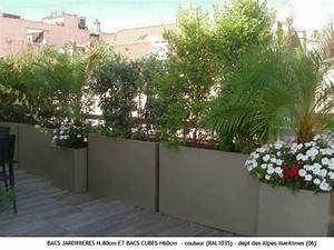 jardinieres sur terrasse appartement pinterest design With amenagement terrasse exterieure appartement 5 bambou en pot brise vue naturel et deco sur la terrasse
