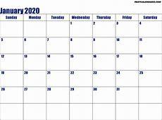 Blank Printable January 2020 Calendar