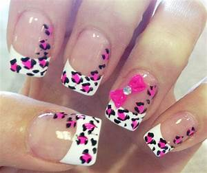 pink leopard bow french nails - Favnails