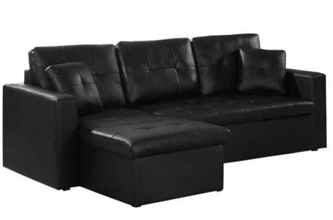 canapé d angle convertible simili cuir pas cher canapé d 39 angle modulable et convertible 3 places noir enzo