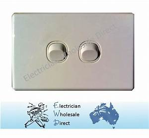 Slim 2 Gang Wall Light Switch Electrical Double