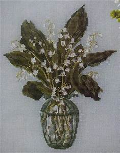 Chart Paper Vase Lily Of The Valley Flowers Floral Cross Stitch Charts