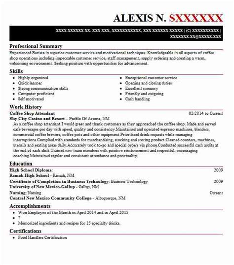 Resume For Coffee Shop by Coffee Shop Attendant Objectives Resume Objective