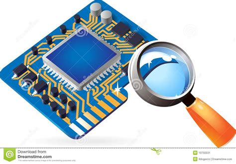 Icon Of Chipset And Lens Stock Vector. Illustration Of