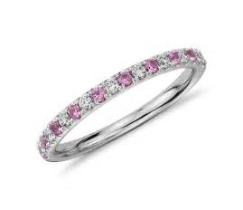 and pink sapphire engagement ring riviera pavé pink sapphire and ring in 14k white gold 1 5mm blue nile
