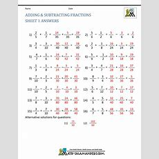 Adding Subtracting Fractions Worksheets