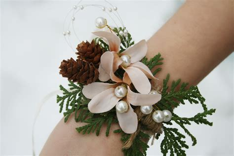 Rustic Corsage Winter Corsage Woodland Wedding Corsage Flower