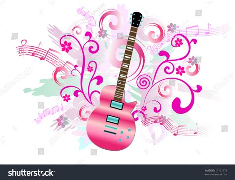 Pink Guitar On Abstract Background Stock Vector