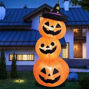 Halloween, Inflatable, 6feet, 3pumpkin, Stack, Halloween, Decorations, Outdoor, Led, Lights, Outdoor