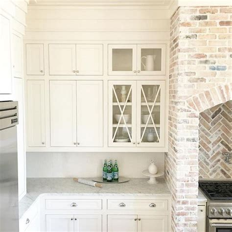 kitchen cabinet paint color is white dove benjamin kitchen brick accent is reclaimed