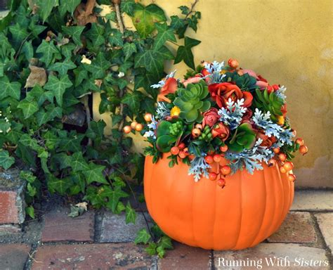 faux succulent pumpkin running with