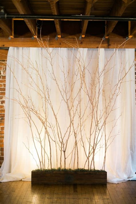 rustic tree branched wedding backdrop tulle chantilly
