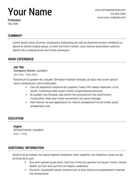 resume templete  excel templates