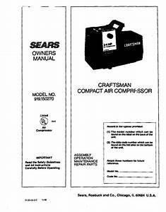 Sears Air Compressor 919 User Guide