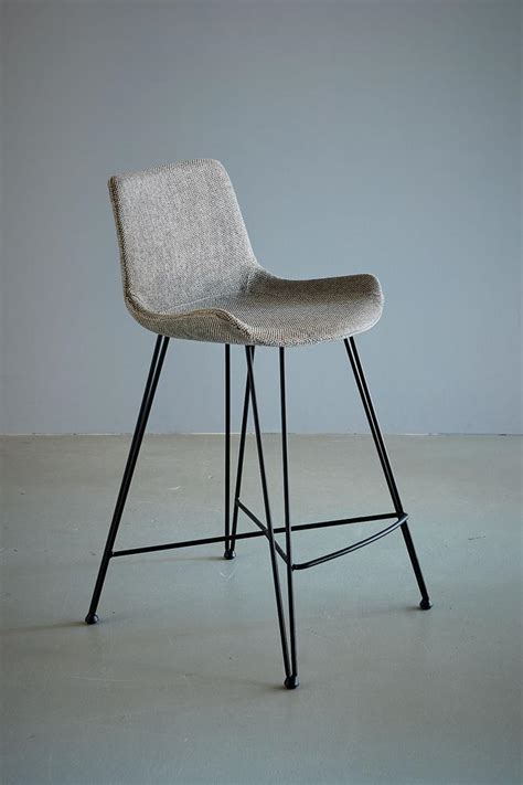 Upholstered Kitchen Counter Stools by Kitchen Counter Stool Light Grey Black Fabric