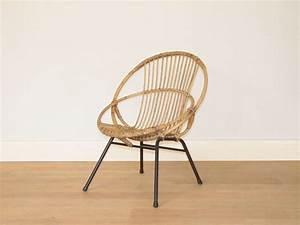 Fauteuil Pied Metal : fauteuil rotin vintage osier ~ Teatrodelosmanantiales.com Idées de Décoration
