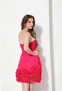 Hot Pink Embellished Strapless Chiffon Short Cocktail ...