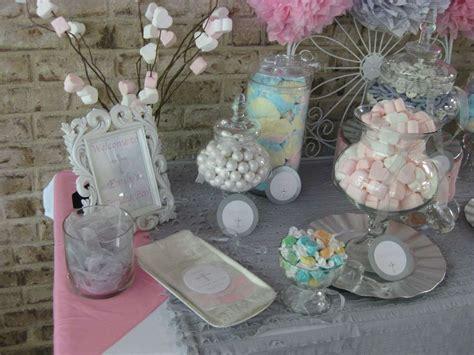 silver white  pale pink  communion party ideas