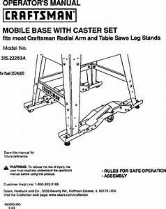 Craftsman 31522283a User Manual Mobile Base  Caster Set