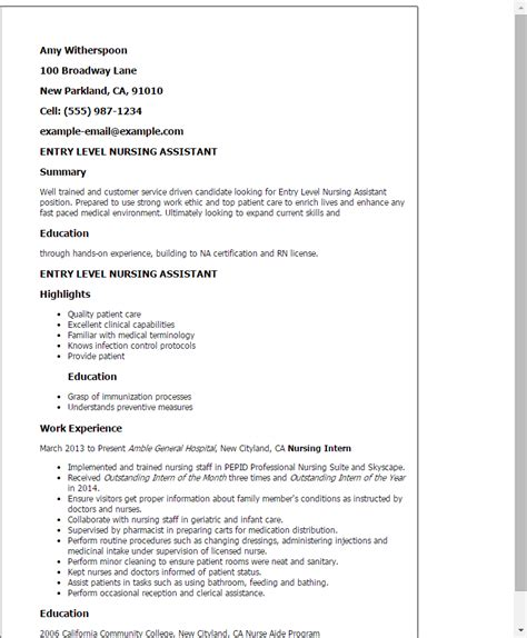 entry level cna resume professional entry level nursing assistant templates to