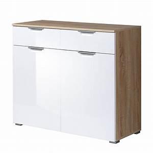 Waschmaschinenschrank Mit Türen : kommode neoo mit 2 t ren hochglanz wei sonoma eiche ~ Eleganceandgraceweddings.com Haus und Dekorationen