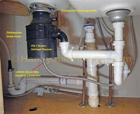 broken garbage disposal plumbing  wiring connections
