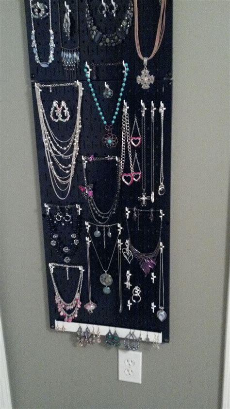 my metal pegboard jewelry organizer the door and