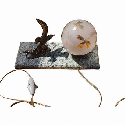 Deco Bird French Lamp Marble Base Glass