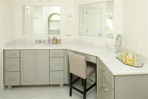 Curved Bathroom Mirror by Gray Curved Bathroom Vanity With White Framed Mirrors
