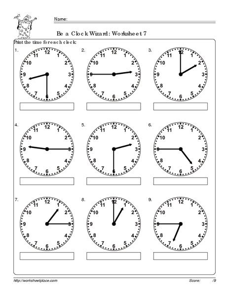 Free Printable Clock Worksheets For Second Grade  Telling Time On The Half Hour Worksheet