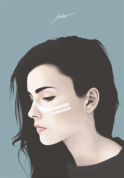Clean Vector Portraits By Yuschav Arly Beautiful Bizarre