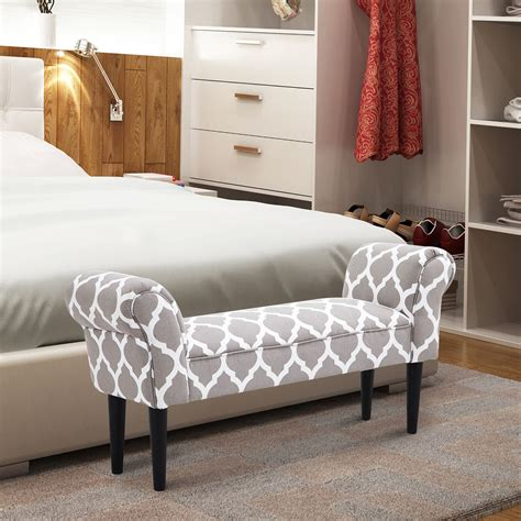homcom  decorative bedroom ottoman bench gray
