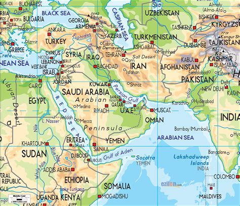 physical map   middle east  shows