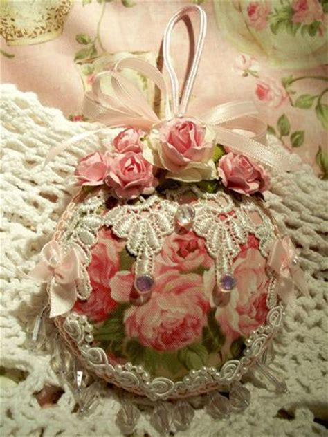 shabby fabrics ornament cabbage roses christmas ornament and ornaments on pinterest