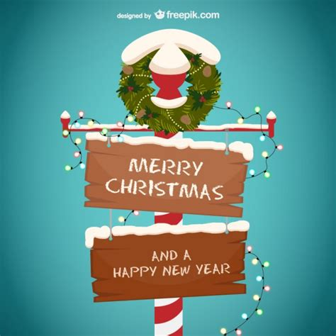 Get a new free font, free graphic and free craft each day. Merry christmas and happy new year wooden sign Vector ...
