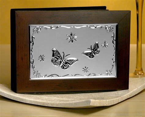 photo album  wood cover  embossed butterfly design